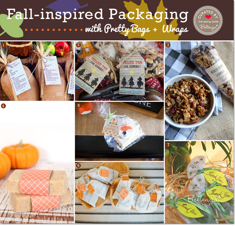 Autumn-inspired favor bags, wraps, and tags // Curated Finds by Bellenza.