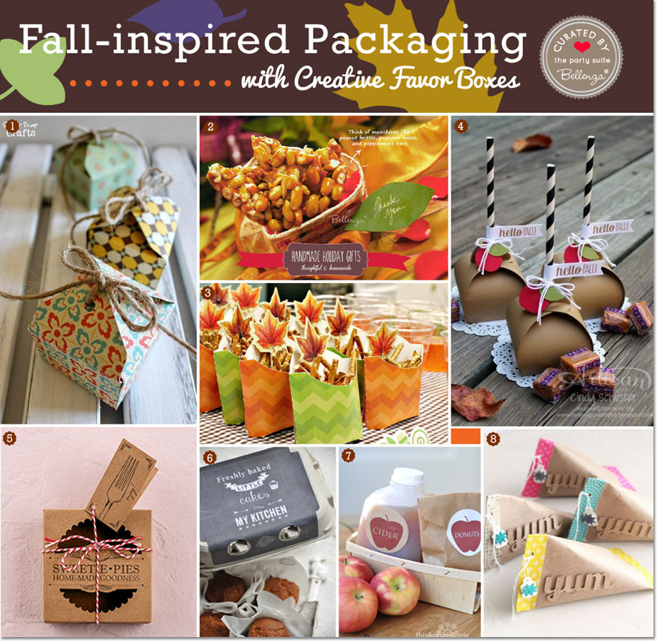 Fall favors like nuts, pie, and donuts in creative favor boxes