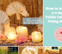 DIY centerpieces using white table napkins
