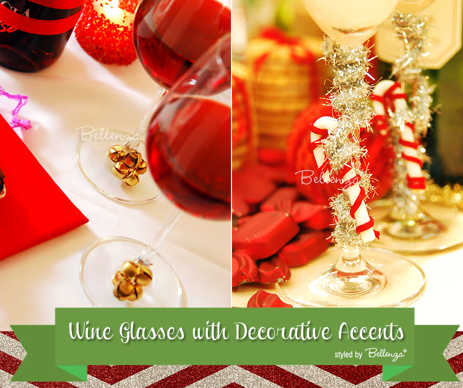 Accents for decorating wine glasses during Christmas