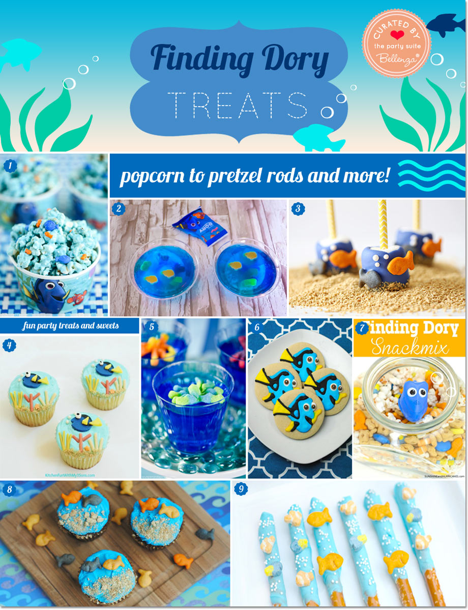 14 amazing Dory-inspired goodies—from cookies to cupcakes, cake pops, jello cups, pretzel rods, snack mix, even popcorn and pudding pops.