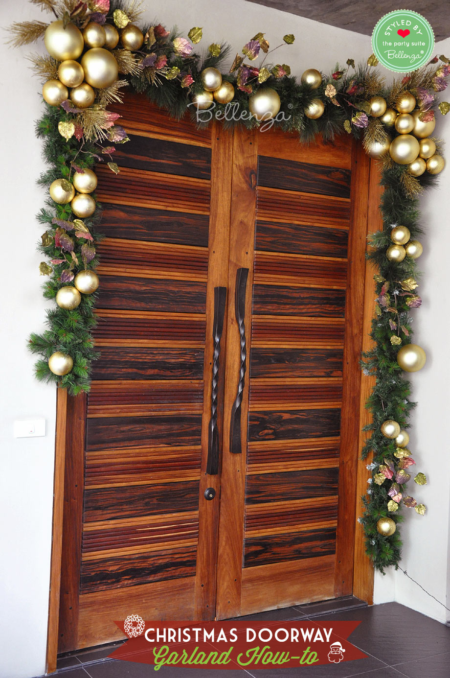 Finished door garland // DIY Christmas door garland by Bellenza.
