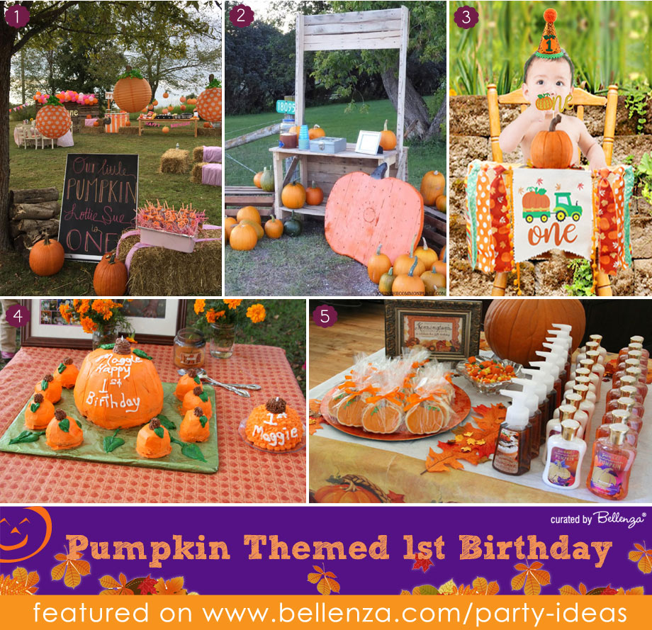 Outdoor Pumpkin Themed First Birthday for Fall