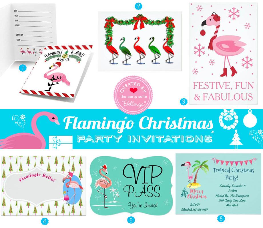 Flamingo themed Christmas Party Invitations