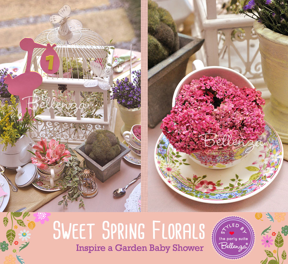 Close-up of flowers and stork table number for spring baby shower   styled by Bellenza