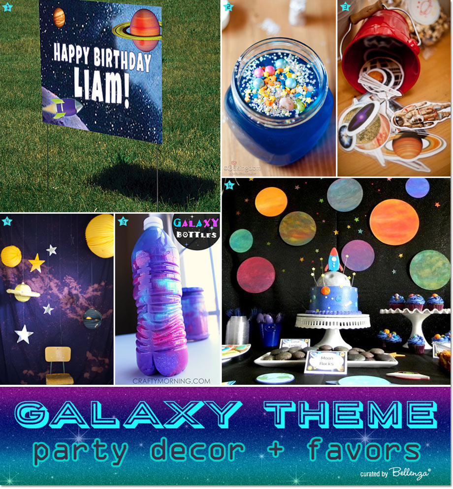 Galaxy party decorations and favors // featured on The Party Suite at Bellenza.