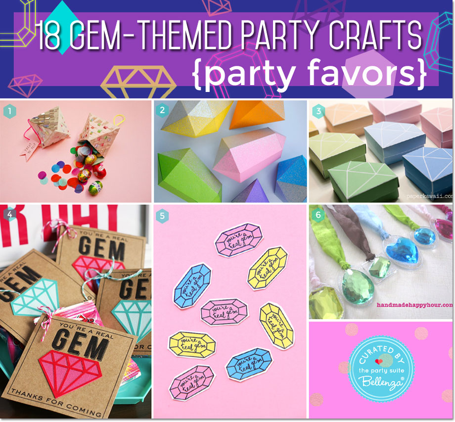 Gems and jewelled favor packaging with diamond gems tags, gem stickers, gem necklaces, and cyrstal gem boxes