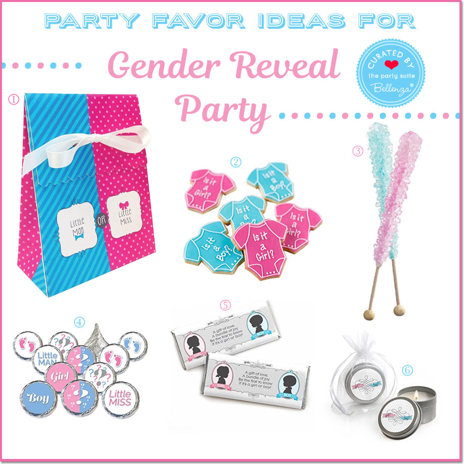 6 gender reveal party favor ideas from onesie cookies to swizzle sticks in blue and pink.