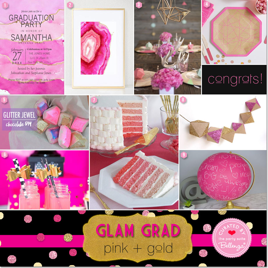 A Pink and Gold Glam Graduation Party with Glitter and Geometrics!