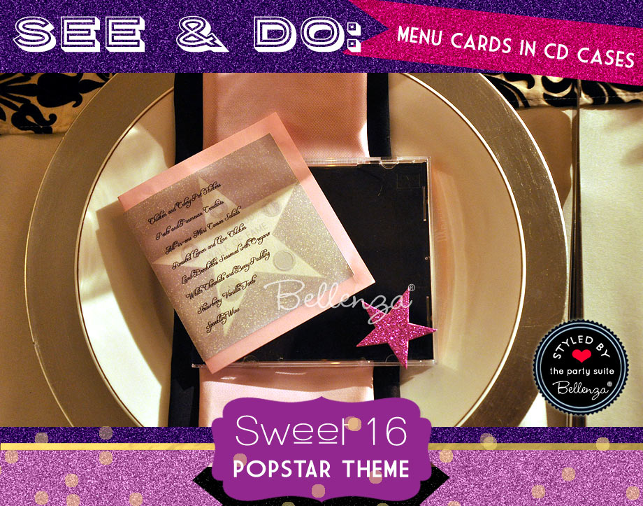 Glam and Glittery Menu Cards with a CD Case