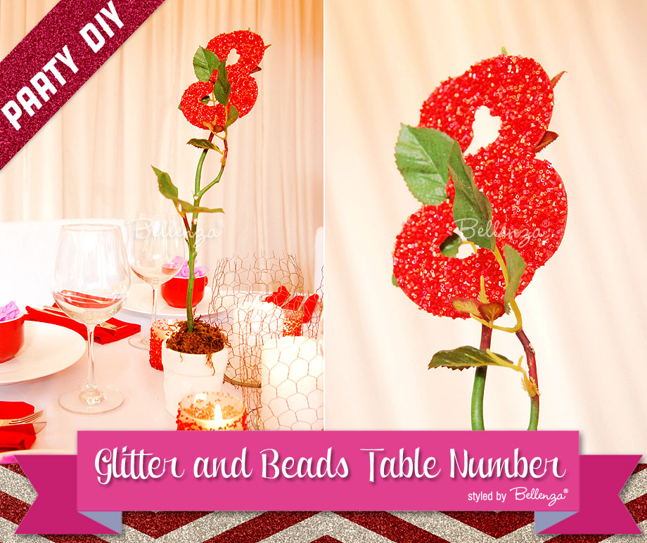 Holiday Party DIY for Making Glitter Table Number Holders