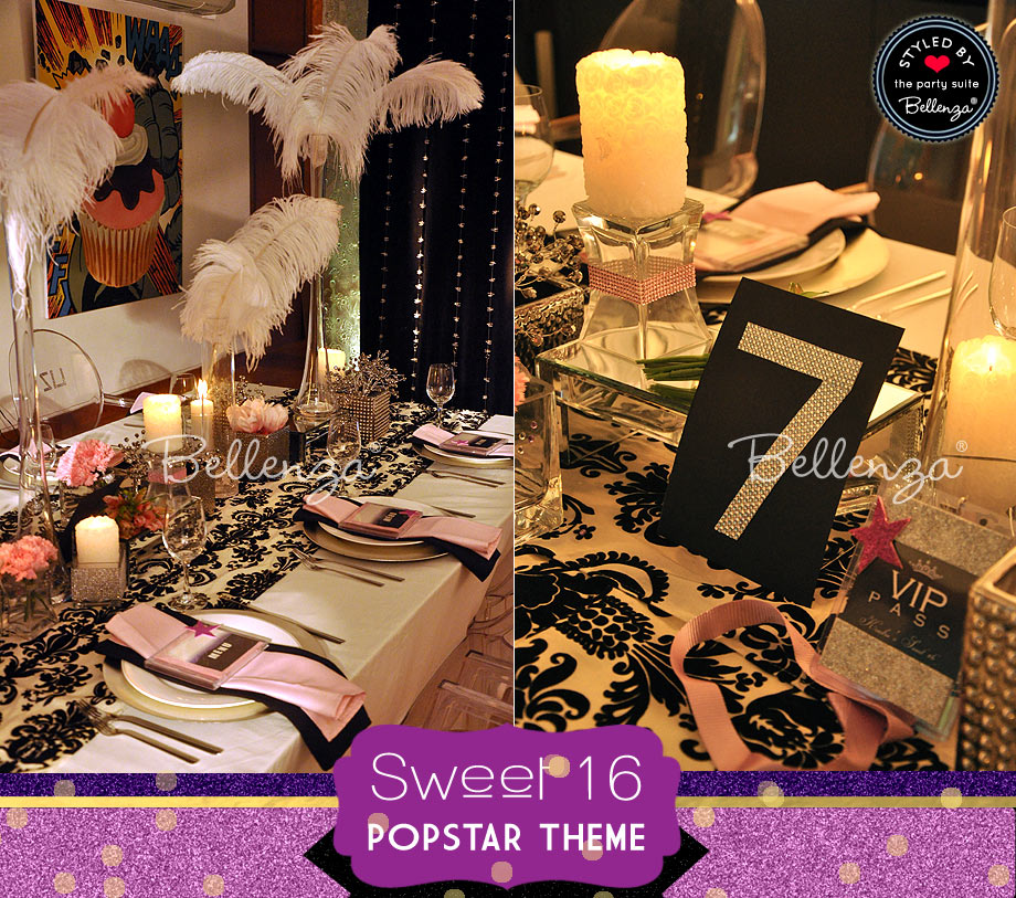 Black and white tablescape with glittery details.