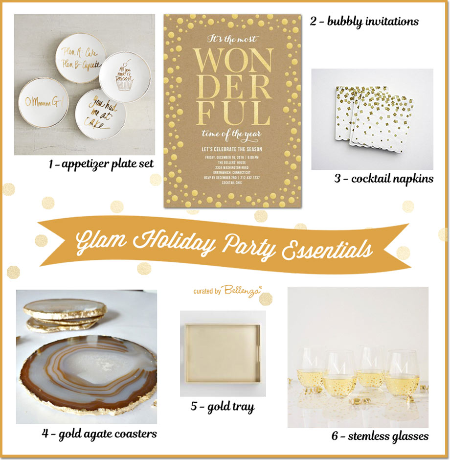 Gold holiday party essentials