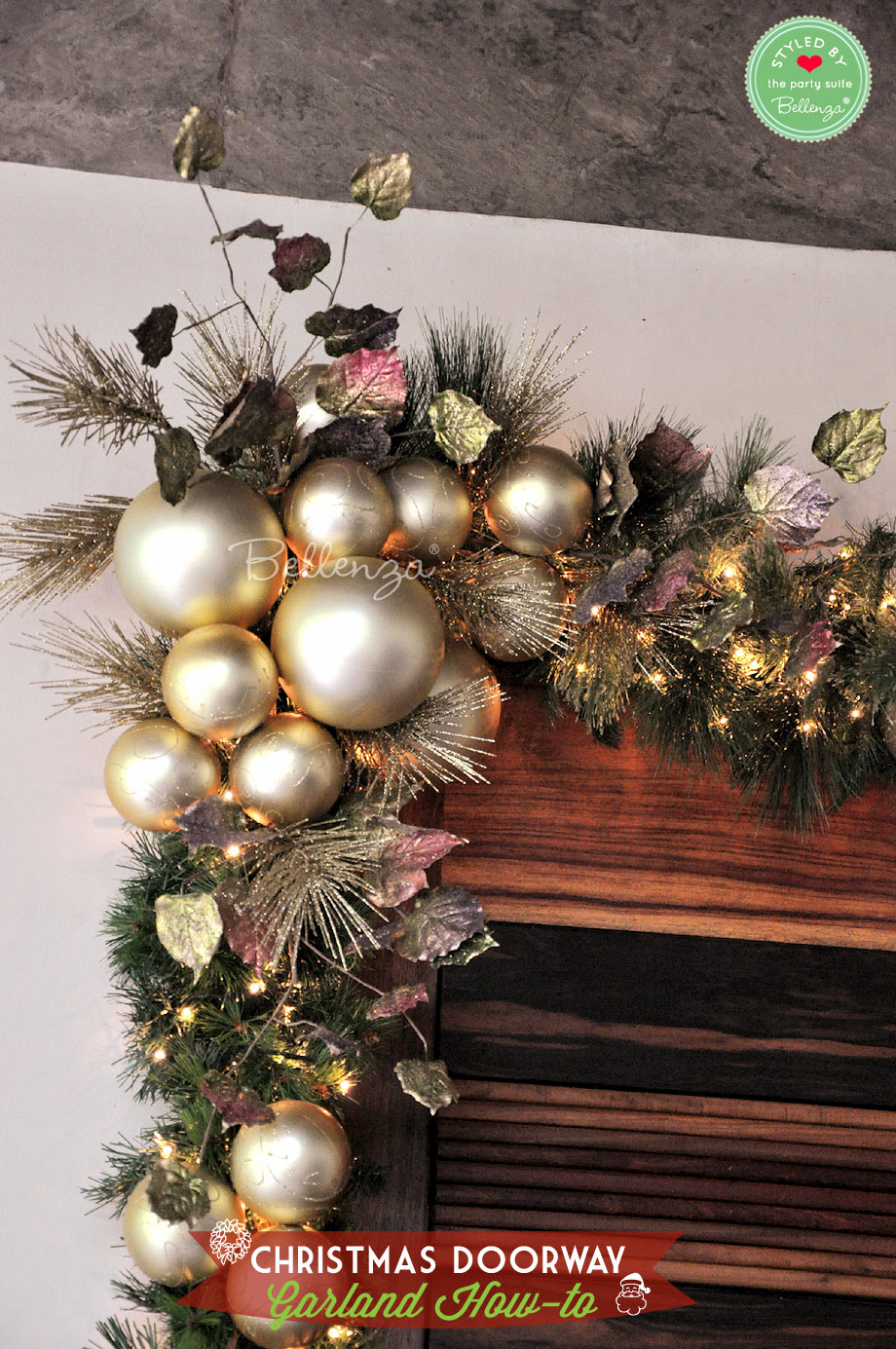Corner of doorway with gold assorted baubles // Bellenza.