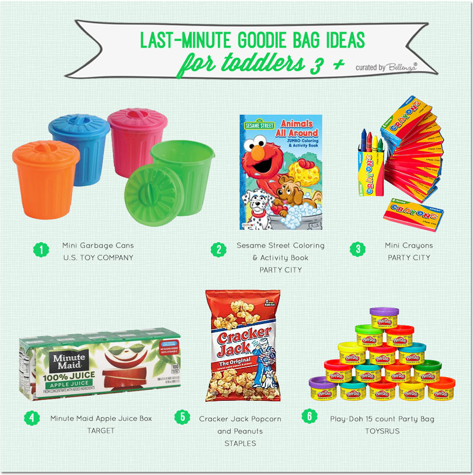 Don't panic yet! These last-minute goodie bag ideas for kids ages 3 and up are fun and practical | as featured on the Party Suite at Bellenza.