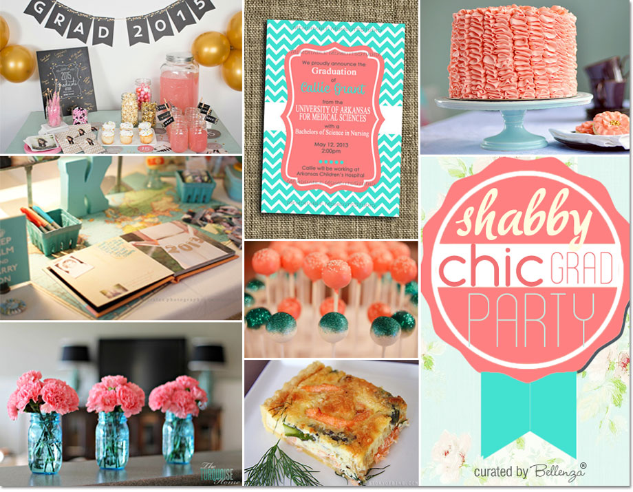 A Shabby Chic Grad Party Inspiration in Coral and Aqua | as featured on the Party Suite at Bellenza