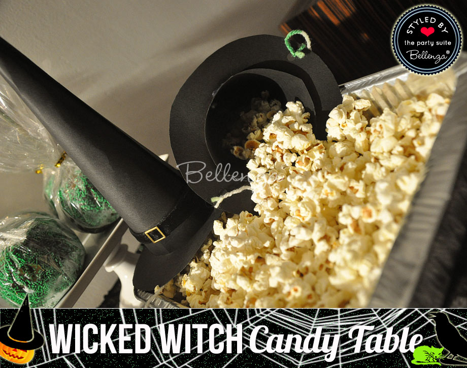 Black witch hat and popcorn station