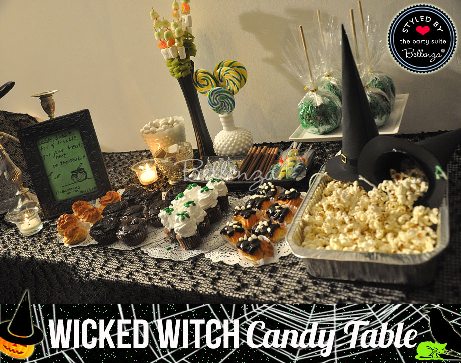 Halloween candy spread for a black and green palette