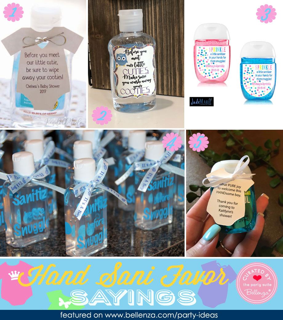Hand Sani Baby Shower Favor Tag Sayings