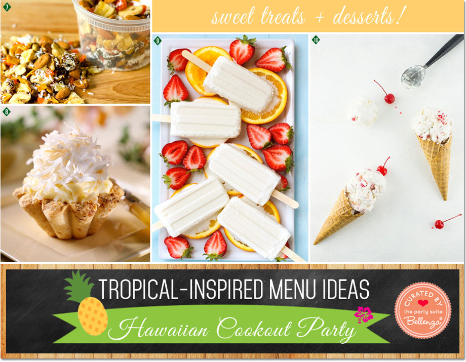 Hawaiian-inspired snacks and desserts from coconut tarts to pineapple upside down cake icecream