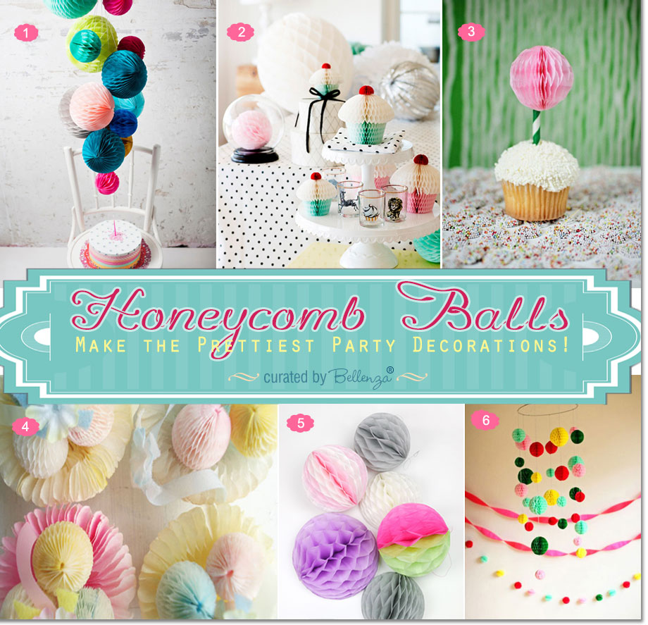 Honeycomb balls as decorations from cupcake toppers to chandelier to dessert table decorations.