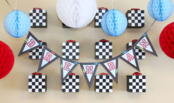 Honey comb decorations in red, white, and blue by Paper and Cake