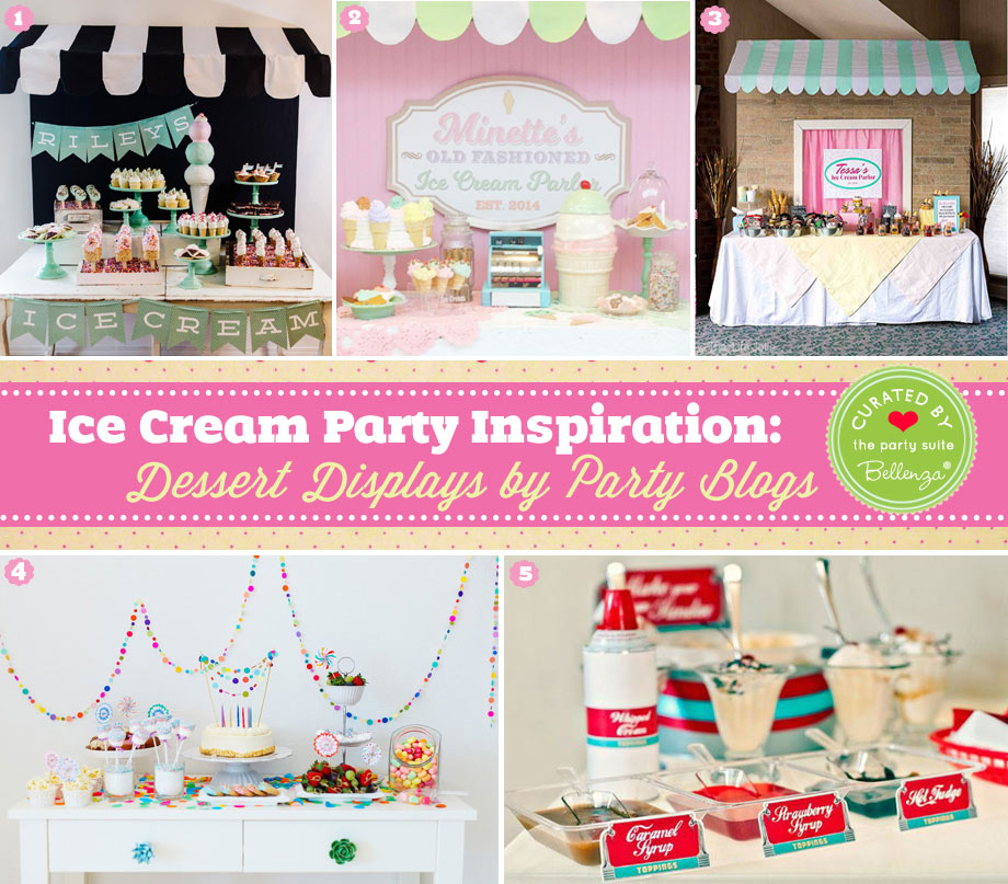 Vintage and retro ice cream dessert table displays and presentation.