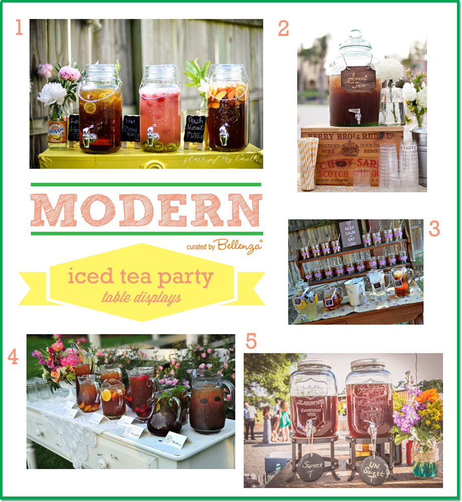 Ice tea table stations and drink displays