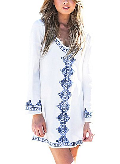 Tunic Style Embroidered Swim suit Cover up