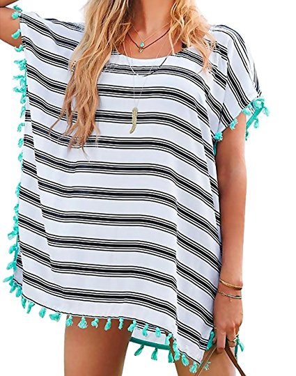 Striped Chiffon with Fringe - Sold by Chalier and Fulfilled by Amazon.