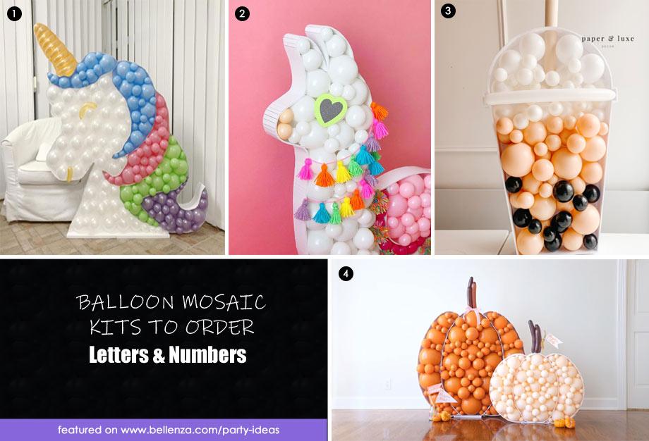 Unicorn, pumpkin, boba, and llama balloon mosaics