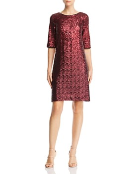 Betsey Johnson Sequined Shift Dress in burgundy (via Bloomingdale's)
