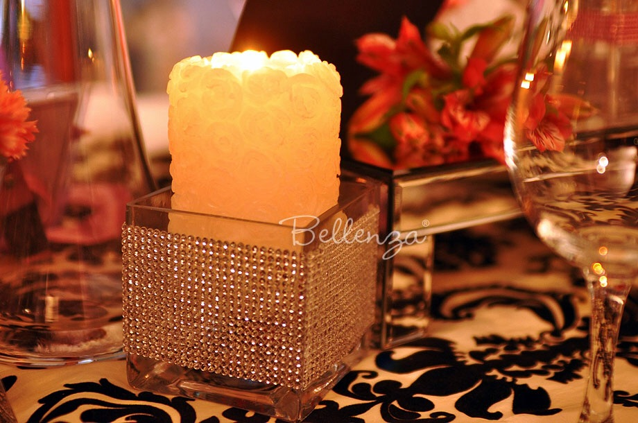 Elegant candle decorations with rose-inspired candles.