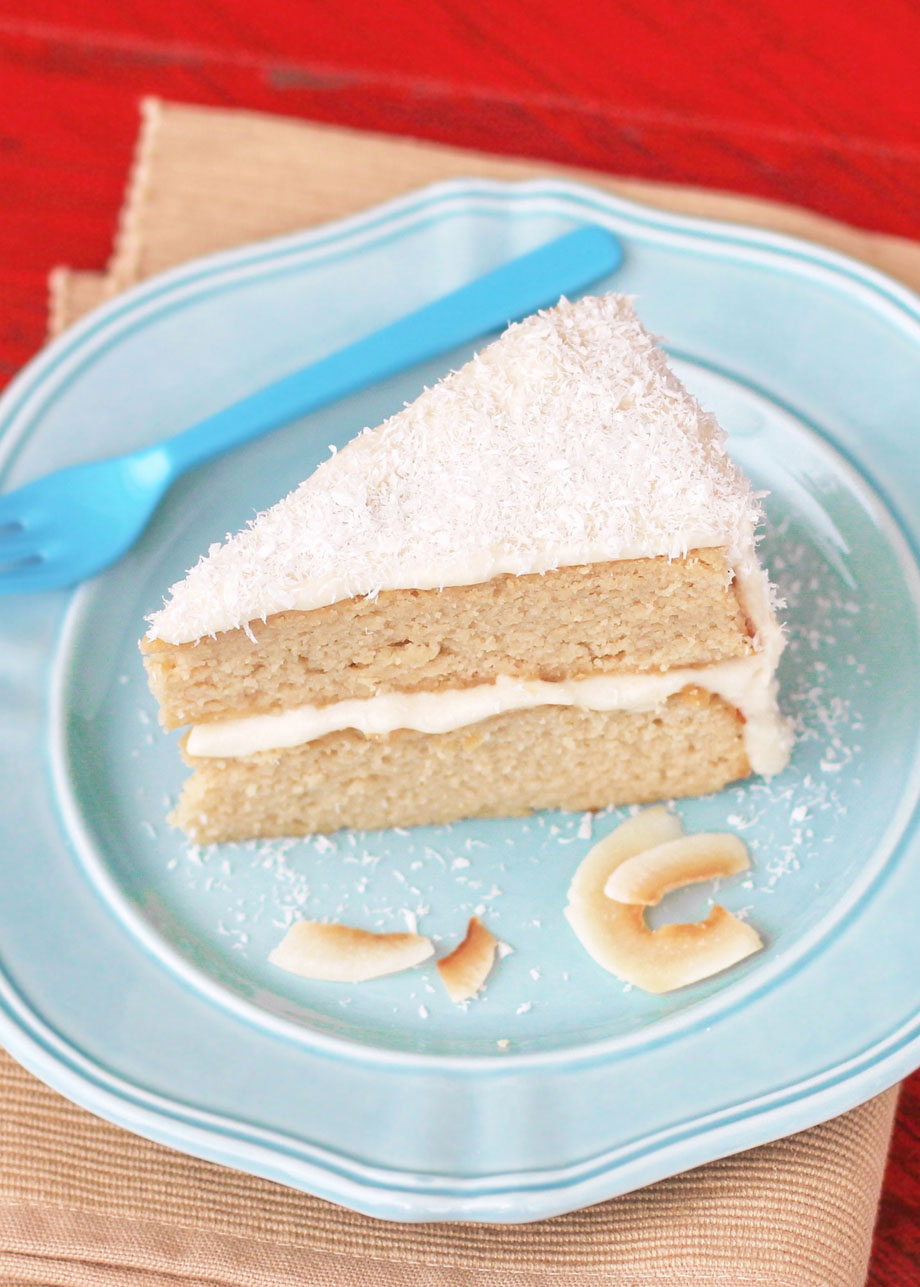 Healthy Coconut Cake with Coconut Frosting