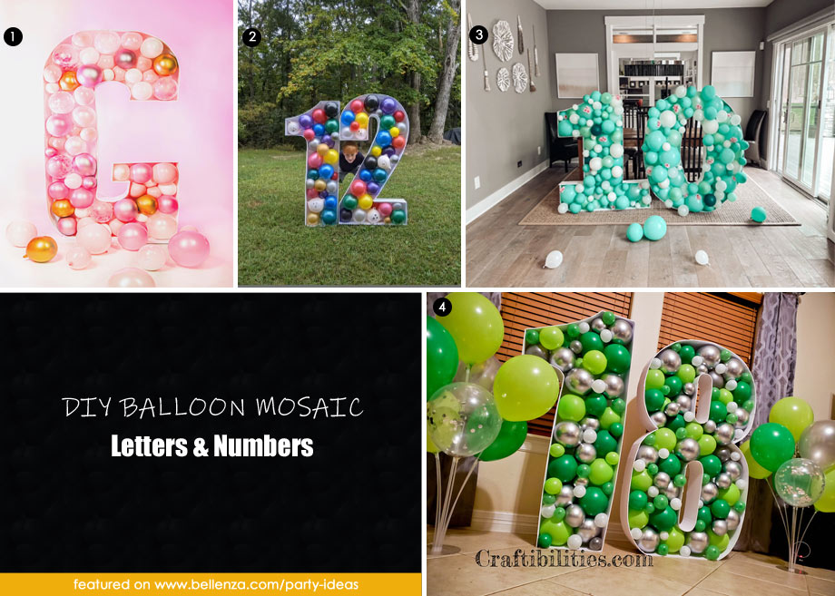 Balloon mosaic letters and numbers