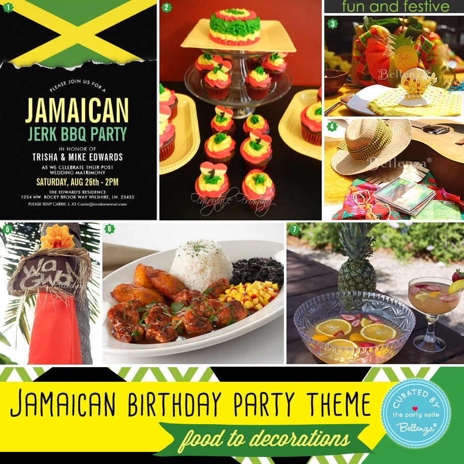 Jamaican party food and decorations