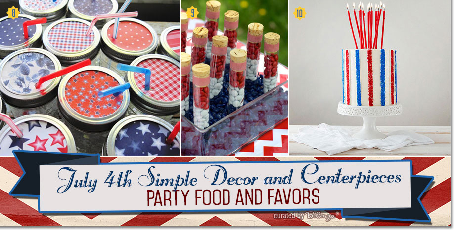 Simple Party Food and Favors for July 4th Party.