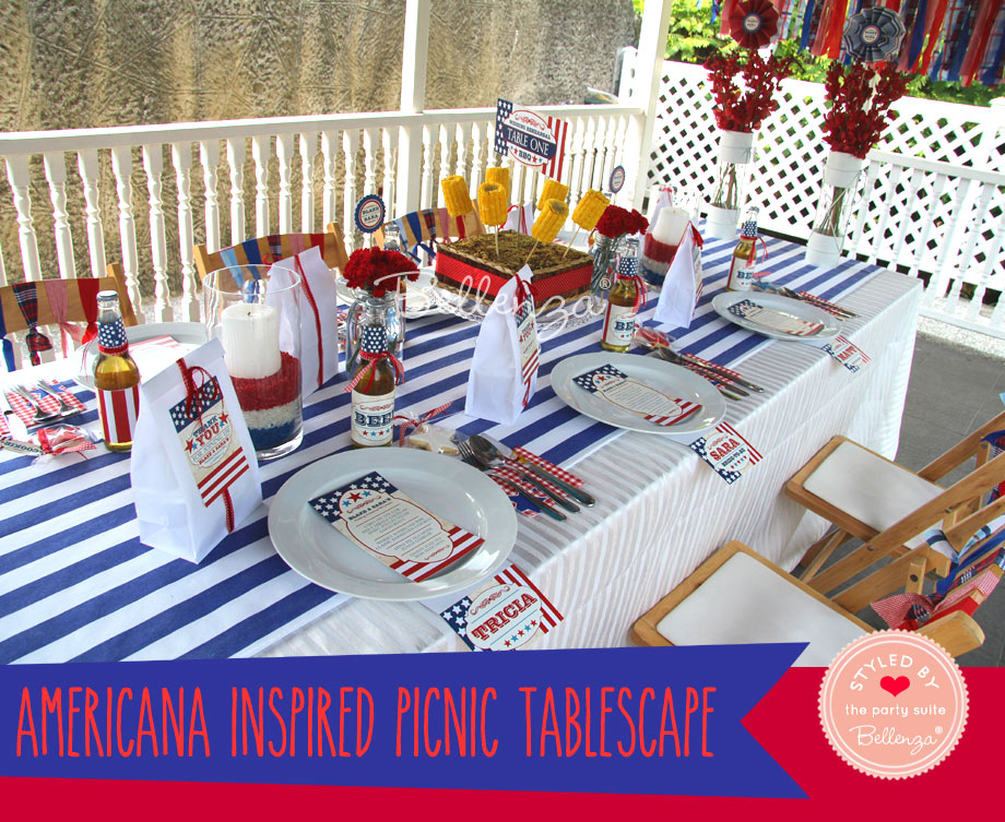 July 4th table decorations with stars and stripes