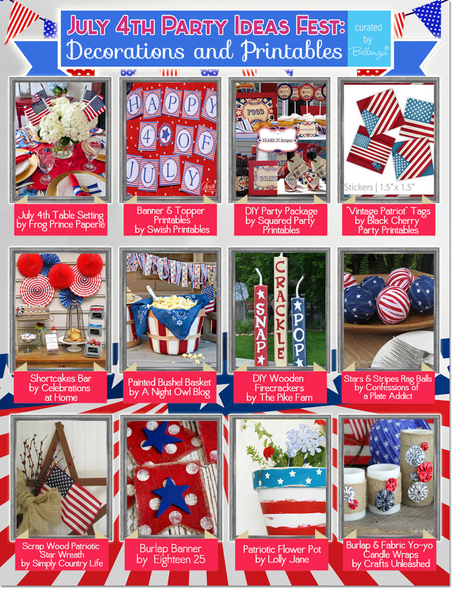 12 fabulous decorating and printables ideas for July 4th! #july4decorations #july4printables