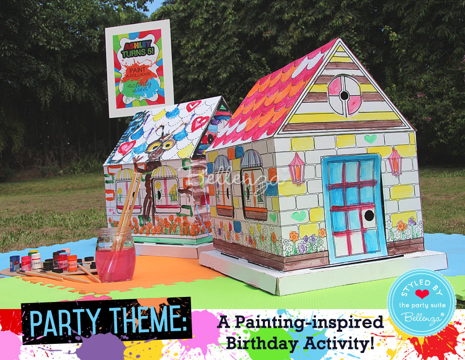 Cardboard boxes used for painting party activity