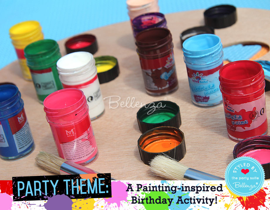 Assorted paints in blue, red, yellow,  green and yellow
