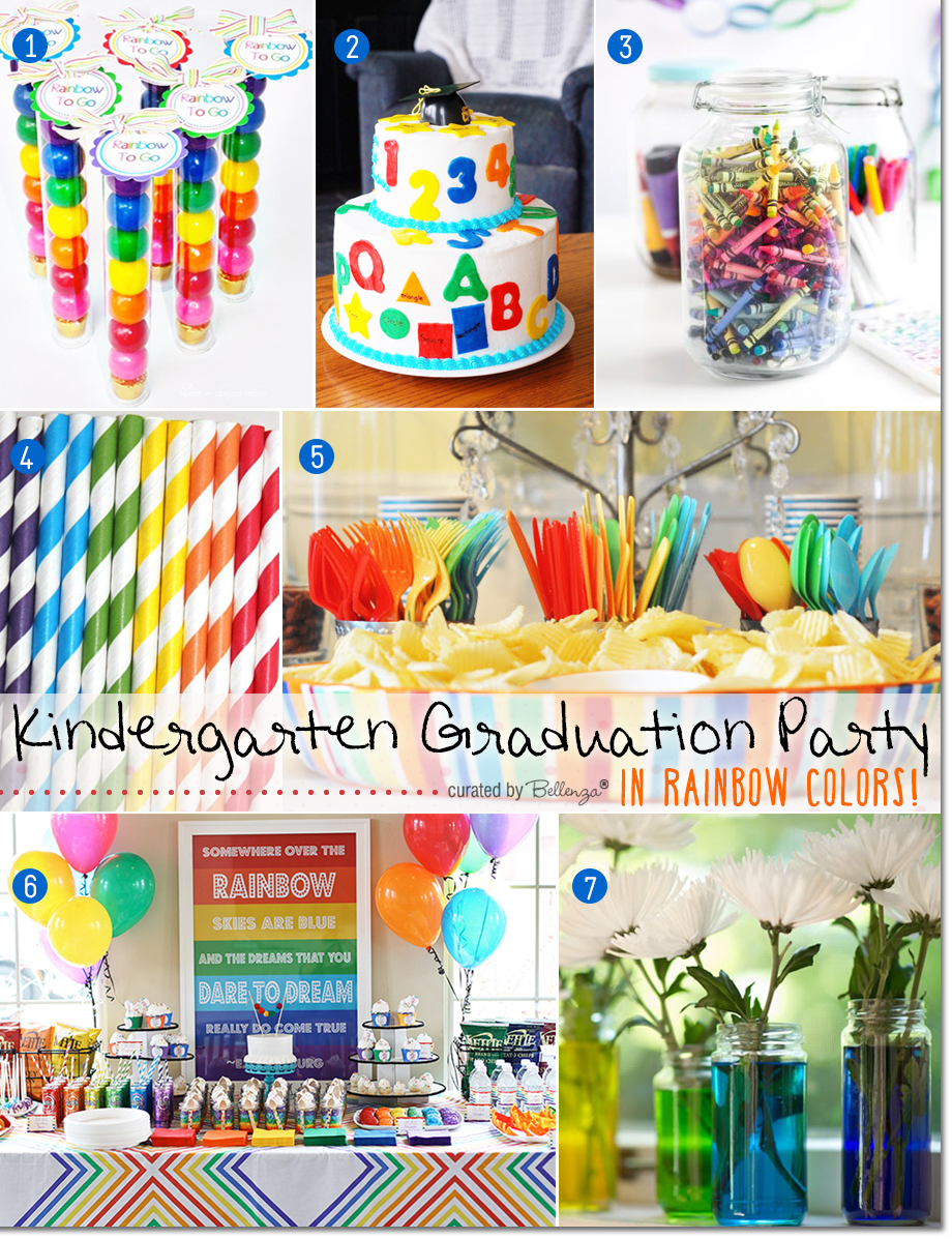 Rainbow themed graduation party for kindergartener.