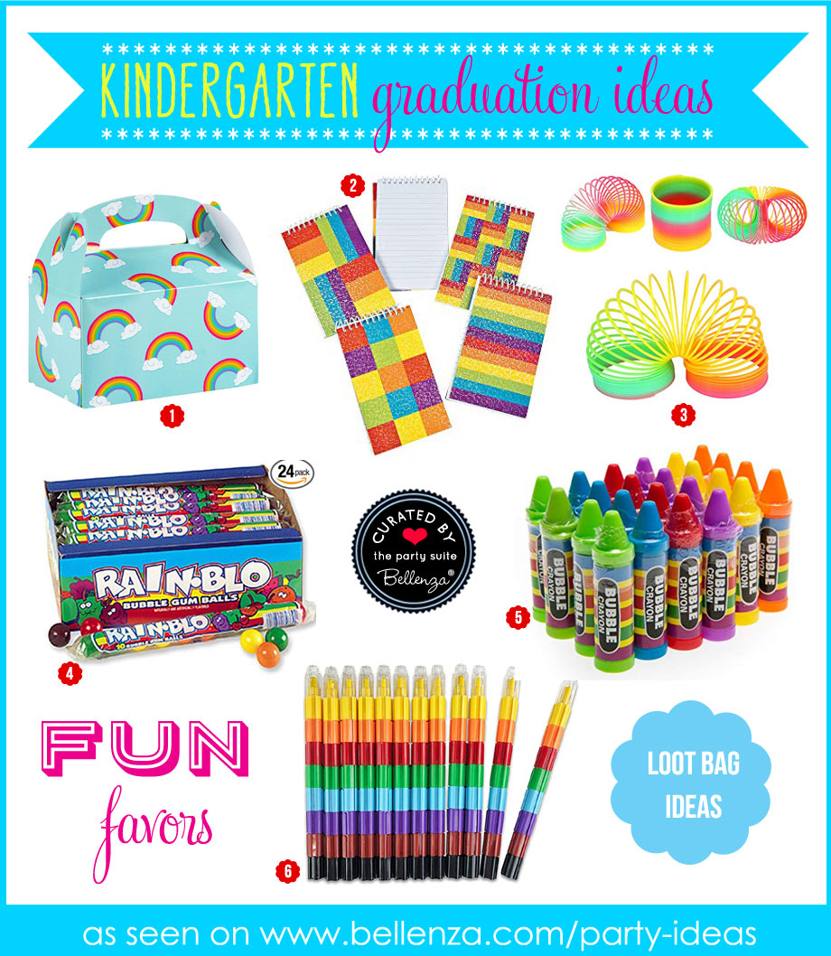 Rainbow-themed kindergarten graduation favors