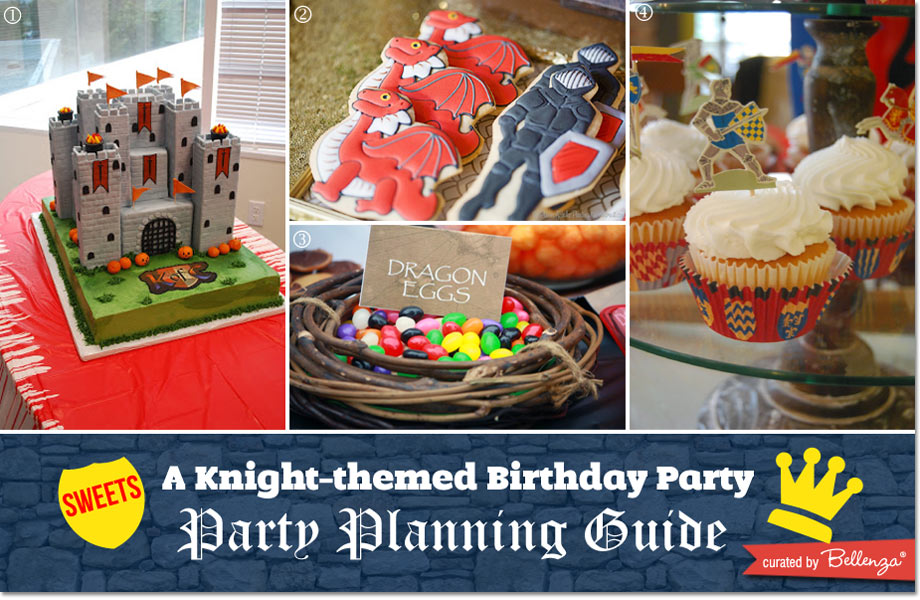 A medieval castle cake, dragon cookies and eggs, and cupcakes for knights!
