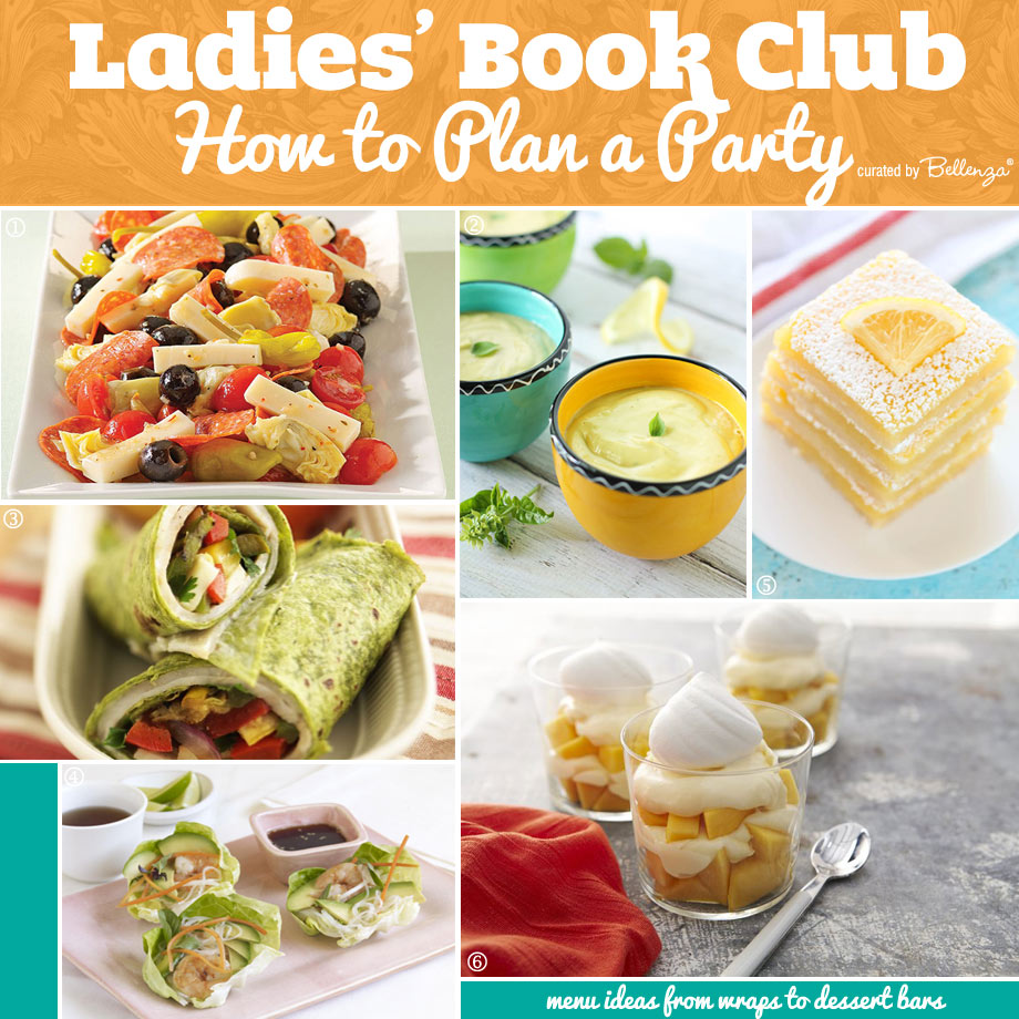Food, Dessert, and Drinks to Serve at a Ladies Book Club Party