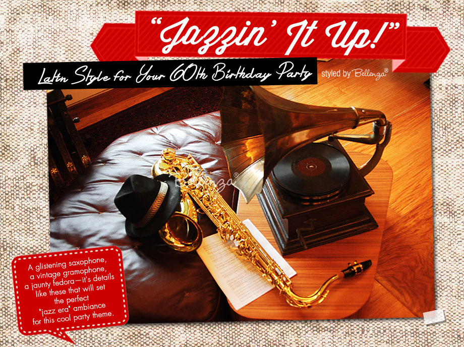 Vintage props for a Latin Jazz Birthday such as saxophone, a vintage gramophone, and a jaunty fedora