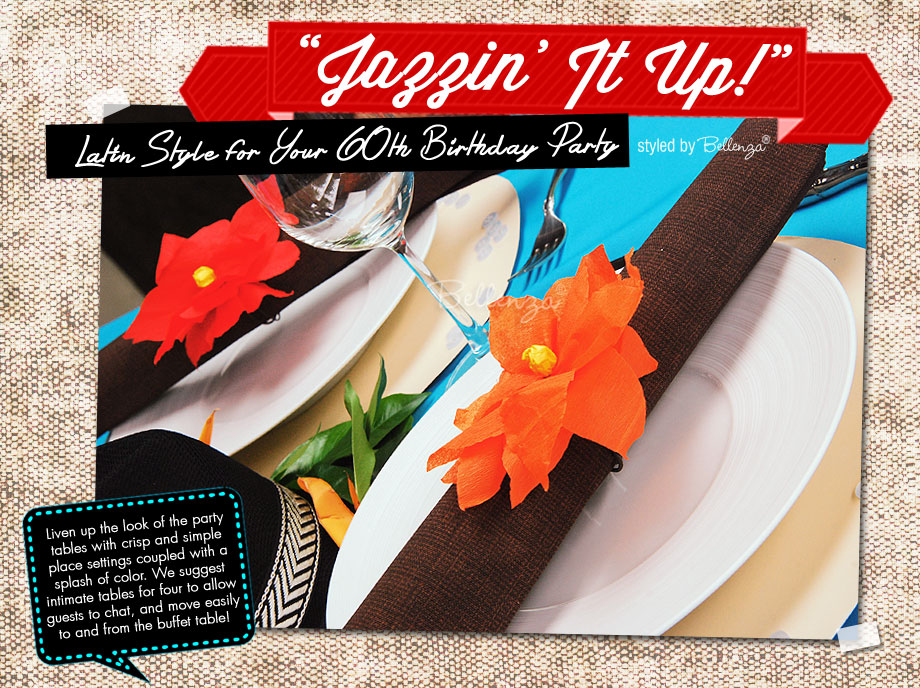 Make crisp and simple place settings and bright splashes of color for a Latin Jazz Birthday Party