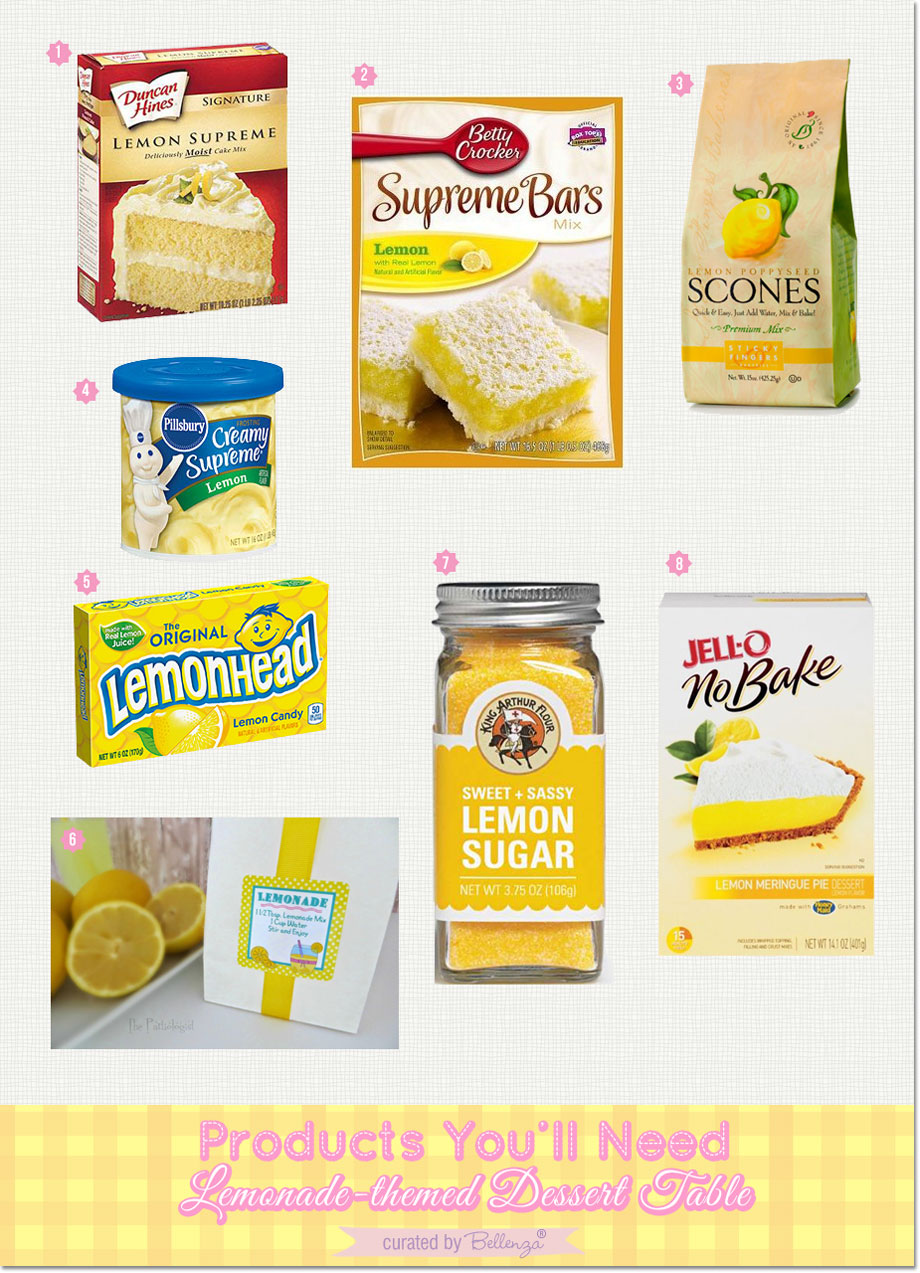 Lemon desserts ingredients | as featured on the Party Suite at Bellenza. #lemonthemedparty #lemonadedesserttables