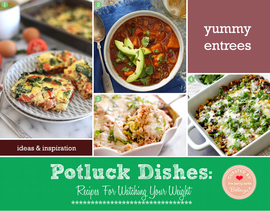 Light potluck entrees made with beans, white meat, and vegetables