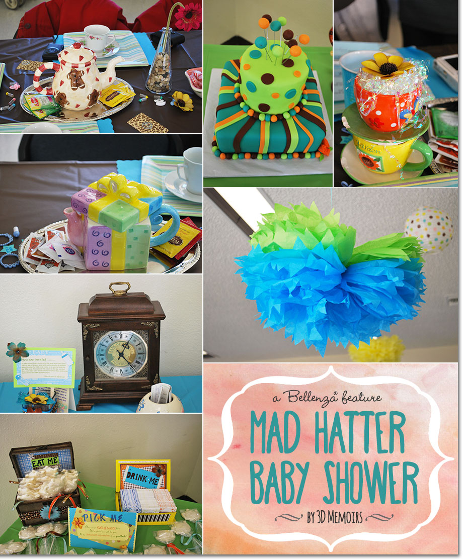 Mad Hatter Baby Shower Inspiration With Colorful Decor, a Cake, and Ceiling Decor.